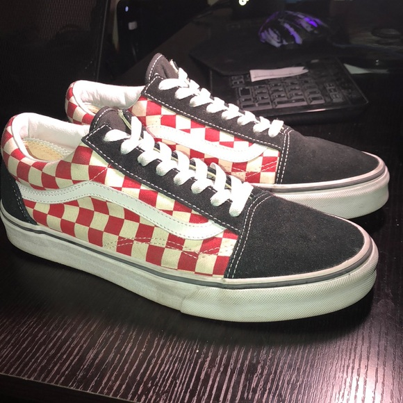 Old Skool Solid Black and Red Checkered Vans